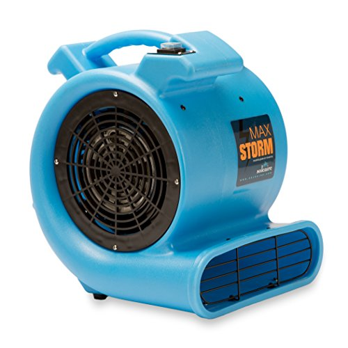 - Max Storm 1/2 HP Durable Lightweight Air Mover Carpet Dryer Blower Floor Fan for Pro Janitorial Cleaner, Blue