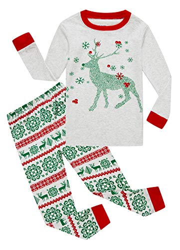 Family Feeling Baby Girls Boys Long Sleeve Christmas Pajamas Sets 100% Cotton Pyjamas Toddler Infant Kids 18-24 Months Reindeer