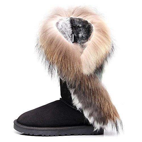 rismart Women High-End Custom Water-Resistant Half Snow Boots Stylish Glitter Suede Dressy Winter Boots With Warm Wool Lining Grey SN2810 US7.5 7S3pGdQXDU