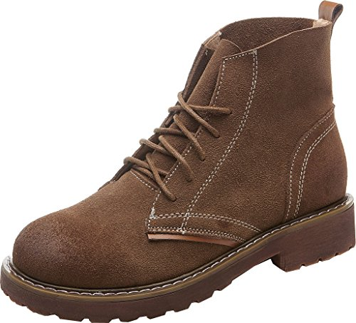 Abby 903-11 Womens Comfort Retro Combat Winter Lace Up Scrub Leather Martin Boots Brown AXlBNOuJ