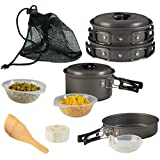 Wealers Camping Cookware 11 Piece Outdoor Mess Kit Backpacking| Trailblazing add on | Compact| Lightweight| Durable with Chef Pots, Bowls, Utensils and Mesh Carry Bag Included