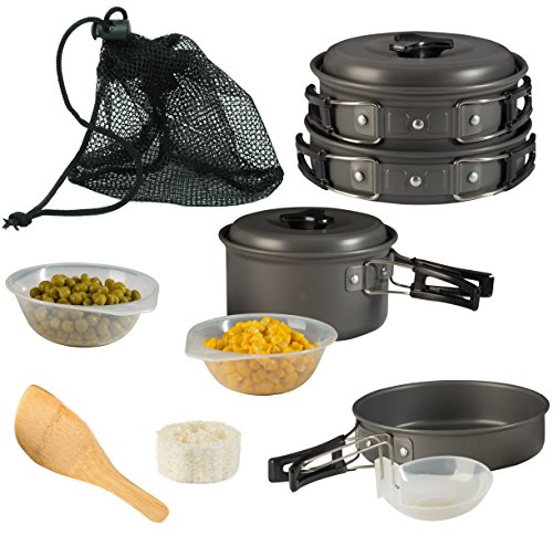 - Camping Cookware Pot & Pan Plus Stove Set Mess Kit Backpacking Outdoor Cooking Bowl Made Of Lightweight Aluminum Material Small & Compact Foldable Handles (Pot Set)