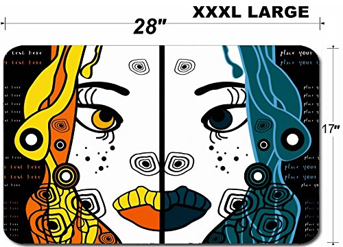 Liili Large Table Mat Non-Slip Natural Rubber Desk Pads set of two vector halloween woman cartoon portraits party background for text IMAGE ID 11243777]()