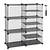 SONGMICS Cube Storage Unit, Interlocking Metal Wire Organizer with Divider Design, Modular Cabinet, Bookcase for Closet Bedroom Kid's Room, Includes Rubber Mallet 34.3'L x 12.6'W x 37.8' Black ULPI36H