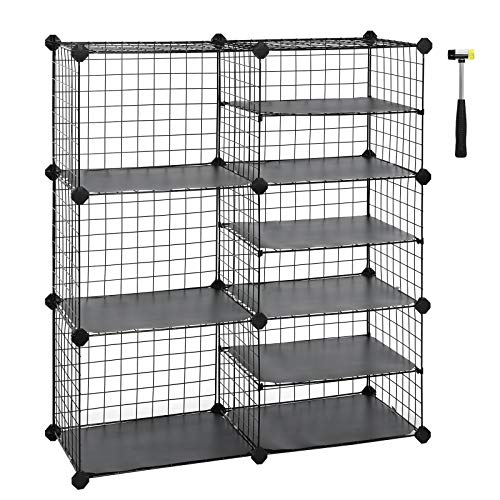 (SONGMICS Cube Storage Unit, Interlocking Metal Wire Organizer with Divider Design, Modular Cabinet, Bookcase for Closet Bedroom Kid's Room, Includes Rubber Mallet 34.3