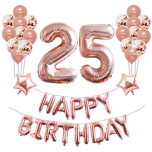 25th Birthday Party Decorations, Puchod 25th Foil Balloons Birthday Party Decorations Banner Supplies Set Rose Gold Confetti Balloons for Girls ()