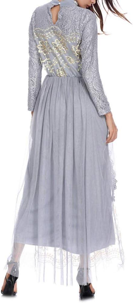 Robe Dress for Women Lady Muslim Maxi Dress Trumpet Sleeve Abaya Long Skirt Robe Gowns Belt Arabian Tunic Fress
