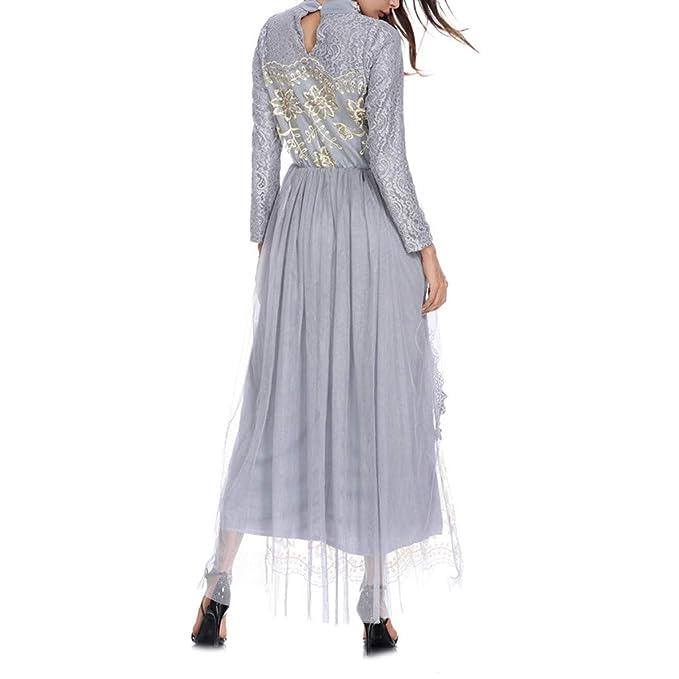 RISTHY Abaya Muslim Muslim Kleider Blumendruck Kleider Dubai T/ürkei Maxi Langes Kleid Lose Trompete Arabische Islamische /Ärmel Kaftan Dubai f/ür Damen Kleidung