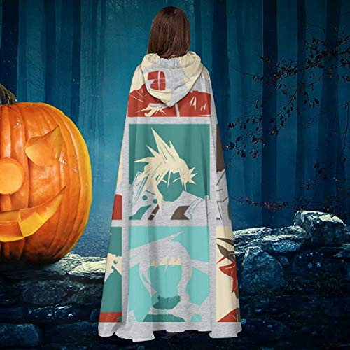 Final Fantasy Halloween Art (Final Fantasy 7 Pop Art Unisex Christmas Halloween Witch Knight Hooded Robe Vampires Cape Cloak Cosplay Costume)