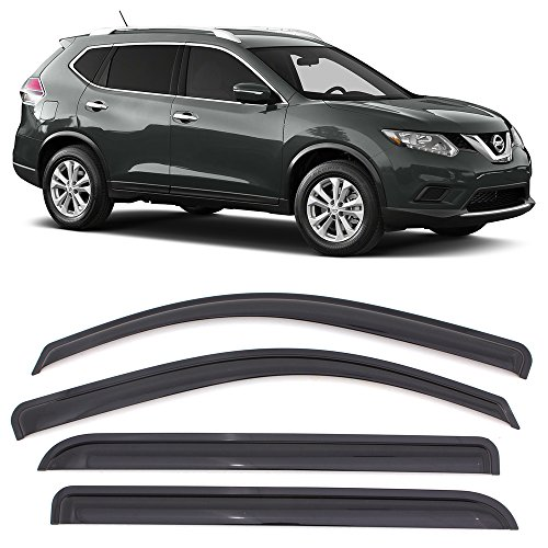Window Visor fits 2014-2017 Nissan Rogue SV & SL | Acrylic Unpainted Black Sun Rain Shade Guard Wind Vent Air Deflector by IKON MOTORSPORTS | 2015 2016 (Wind Vent)