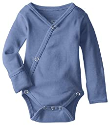 L\'ovedbaby Unisex-Baby Organic Cotton Kimono Long Sleeve Bodysuit, Slate, 0/3 Months