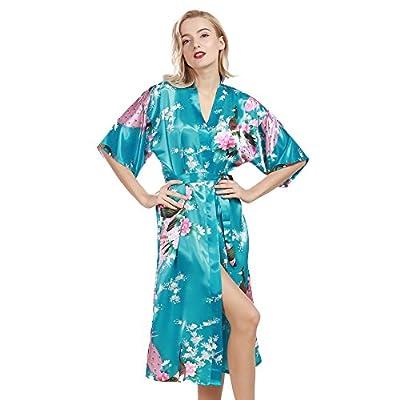 Slocyclub Women's Kimono Bathrobe Short Sleeve Silk Robe for Bride and Bridesmaid