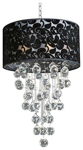 Modern Chandelier with Black Shade Rain Drop Lighting Crystal Ball Fixture Pendant Ceiling Lamp H24 X W16, 6 Lights,
