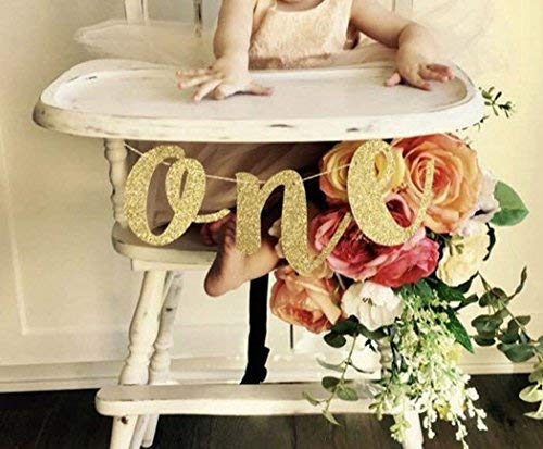 Beaumode Glitter Gold 1st Birthday Highchair Banner for One High Chair Sign Baby First Birthday One Photo Prop Party Decorations -