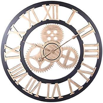 Amazon Com Ruiyif 24 Inch Wall Clocks Rustic Wood Decorative Living