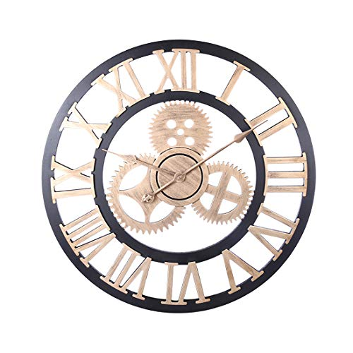 RuiyiF 24 inch Wall Clocks Rustic Wood Decorative Living Room Quiet No Ticking Noise AA Battery Operated ()