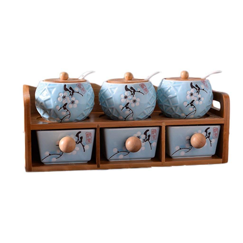 Premium Seasoning Box Ceramic Spice Box Set Spice Jar Seasoning Seasoning Box Seasoning Bottle Oil Salt Can Kitchen Home