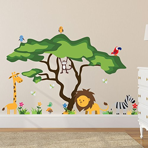 Timber Artbox Cute Animals In the Jungle Wall Decals - Giant Bright Stickers to Put A Smile on Kids & Toddlers Paint Mural Kids Room
