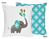 Sweet Jojo Designs Turquoise Blue and White Girl or Boy Decorative Accent Throw Pillow for Mod Elephant Bedding Set