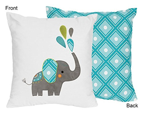 Sweet Jojo Designs Turquoise Blue and White Girl or Boy Decorative Accent Throw Pillow for Mod Elephant Bedding Set (Lamp Accent Elephant)