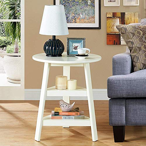 - Solid Wood Small Round Table, Sofa Side Table, Modern Minimalist Corner, Several Coffee Tables Table (Color : White, Size : 560 460 670mm)