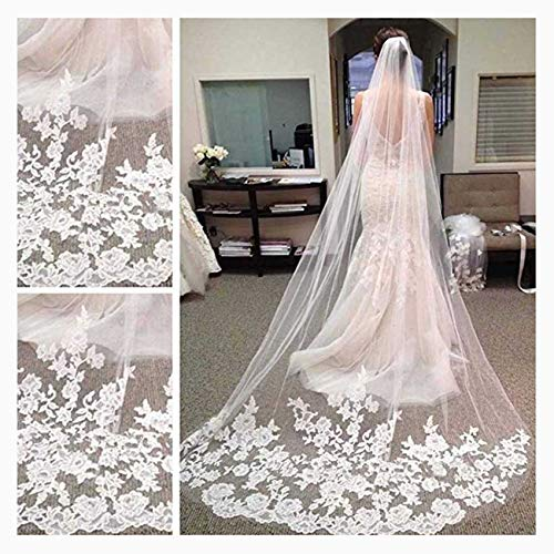 - CanB Wedding Veil Bridal Cathedral Veil Flower Lace Veil 1 Tier White Veil with Comb for Brides