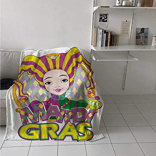 maisi Mardi Gras Throw Blanket Carnival Girl in Harlequin Costume and Hat Cartoon Fat Tuesday Theme Velvet Plush Throw Blanket 60x36 Inch Yellow Purple Green]()
