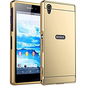 Sony Xperia Z1 Case,DAMONDY Luxury Metal Air Aluminum Bumper Detachable + Mirror Hard Back Case 2 in 1 cover Ultra-Thin Frame Case For Sony Xperia Z1 (Mirror_Gold )