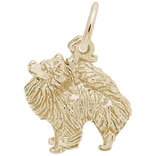 (10k Yellow Gold Pomeranian Dog Charm, Charms for Bracelets and Necklaces)
