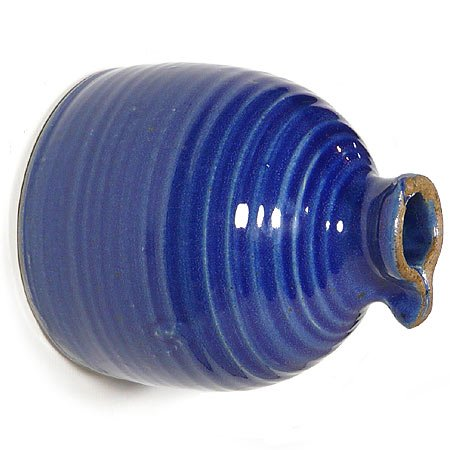 Modern Artisans American Handmade Stoneware Peek-a-Boo Birdhouse Bottle, Royal Blue Color