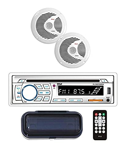 Pyle Bluetooth Marine Stereo Receiver & Waterproof Speaker Kit, Hands-Free Talking, CD Player, MP3/USB/SD Readers, AM/FM Radio, (2) 6.5'' Speakers (Waterproof Stereo Bluetooth)