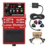 BOSS RC-3 Loop Station Stereo Recorder Pedal BUNDLED WITH Blucoil Power Supply Slim AC/DC Adapter for 9 Volt DC 670mA, 2 Pack of Pedal Patch Cables AND 4 Celluloid Guitar Picks