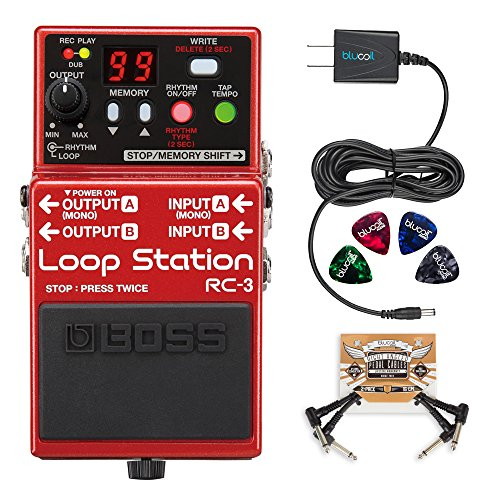 BOSS RC-3 Loop Station Stereo Recorder Pedal Bundle with Blucoil