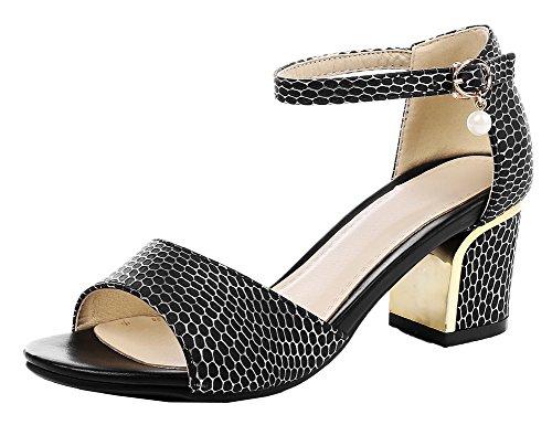 Heels Solid Toe WeiPoot Kitten Open Pu Women's Buckle Sandals Black 044xHXtq
