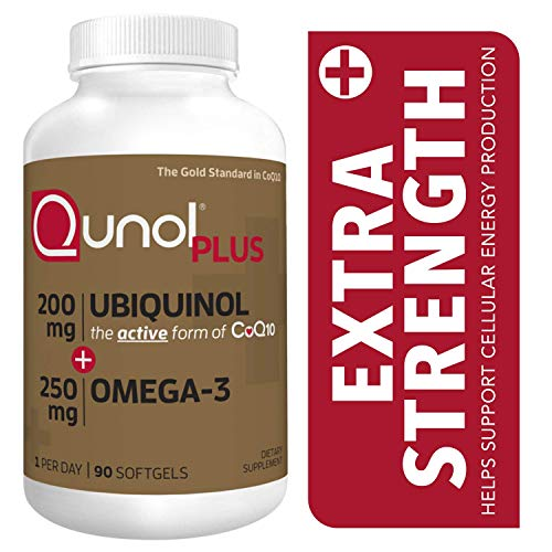 Qunol Plus Ubiquinol Coq10 200mg with Omega 3 250mg Extra Strength Antioxidant (Bovine Version), 90Count