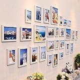 WollWoll Mediterranean Oia Town Greece Landscape Photos Extra Large Polymer Photo Frame Set (232 cm x 1.6 cm x 99 cm, White)