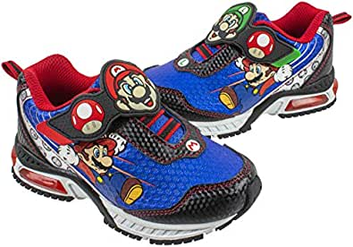 Super Mario Brothers Mario and Luigi Kids Tennis Shoe, Light Up Sneaker, Mix Match Runner Trainer, Kids Size 11 to 3 Blue Size: 1 Big Kid