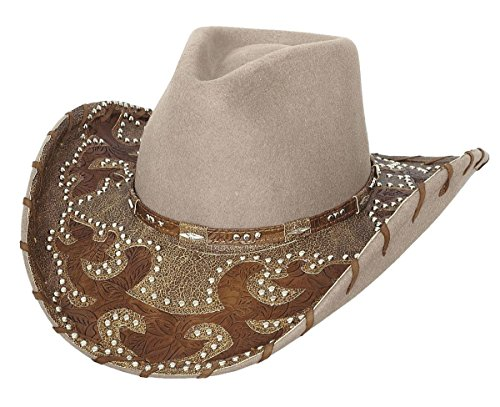 (Bullhide Montecarlo Ultimate Cowgirl Premium Wool w Studded Leather Detail Western Hat Small)