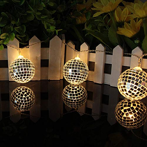 LED Mirror Ball Light String Garden Disco Bar Ballroom Stage Lantern for Festival Christmas Thanksgiving Decoration (Warm White) -