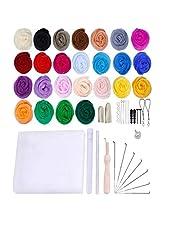 Joyeee Crochet Kit Wool Felt Craft Wupplies Tool Kit with Foam Mat, DIY Cute Kawaii Things Crafts Set for Adults Dids, Needle Felting Supplies Knitting Punch Needle Kit DIY Kit