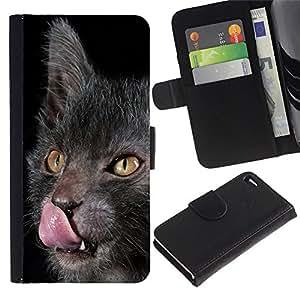 Lykoy Cat Licking Tongue Grey Yellow - la tarjeta de Crédito Slots PU Funda de cuero Monedero caso cubierta de piel Apple iPhone 4 / iPhone 4S / 4S