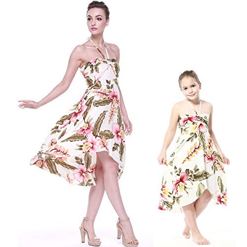 Matching Hawaiian Luau Mother Daughter Halter Dress in Cream Rafelsia