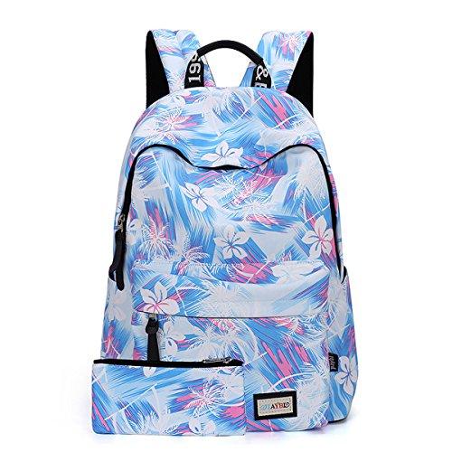 E-Clover -Cute Girls School Backpack Floral Print Bookbag with Pen Case (LightBlue)
