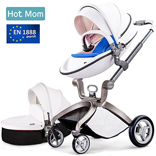 Baby Stroller 2018, Hot Mom 3 in 1 travel system Baby Carriage with Bassinet Combo,White by Hot Mom