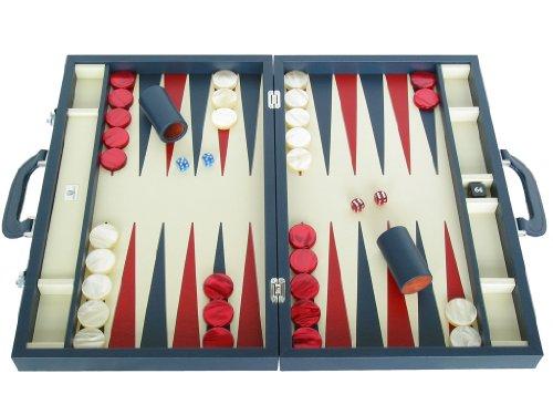 Zaza & Sacci Leather Backgammon Set - Model ZS-612 - Large - Blue