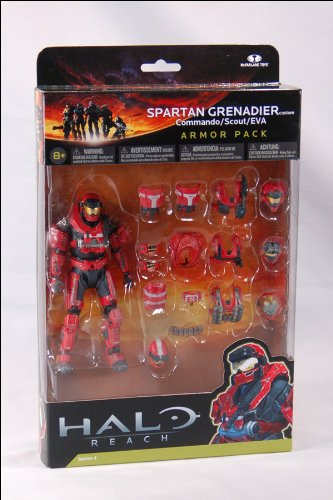 Halo Reach Series 4 Red Spartan Grenadier Custom Commando Scout EVA Armor Pack - Deluxe Armor Pack