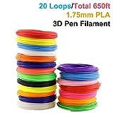 3D Pen Filament Refills, PACKGOUT 1.75 mm Glowing in the Dark Color PLA Filament, 20 Colors 650 Feet (No Odor and Fumes)