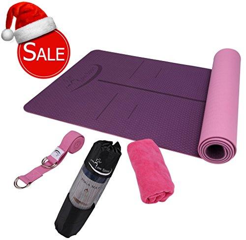 Hot Yoga Mat Set by Low Sport – 100% TPE Yoga Mat, Strap & Carrying Bag + Free Bonus Yoga Hand Towel. Non Slip, Eco-Friendly,Super Elastic,Yoga Mats For Women & Men,Alignment Lines – (Pink) 51jwD5zQc9L