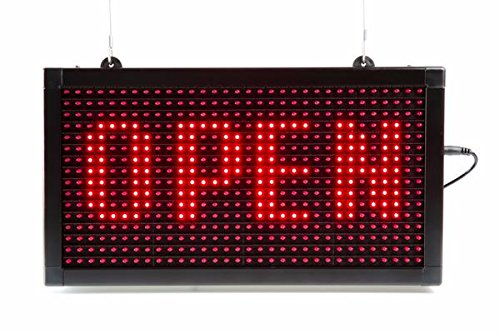 LED Sign 7 X 13 Programmable Scrolling Window Sign Ultra-Bright Easy Program USB Control Open ATM Nail SPA Sign Any Contents (Red only) PRO-LED SIGN TECHNOLOGY INC.