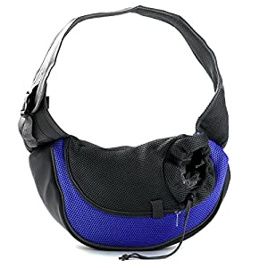 Alfie Pet by Petoga Couture - Ashton Pet Sling Carrier with Adjustable Strap - Color Blue, Size: Small